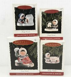 4 Hallmark Frosty Friends Ornaments 14,15,16,17 1993,1994,1995,1996 Boxed T62