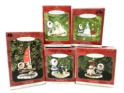 5 Hallmark Frosty Friends Ornaments 18-22 1997,1998,1999,2000,2001 Boxed  T06