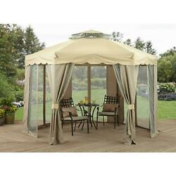 Garden Gazebo Portable Gilded Grove Hexagonal 12and039 X 12and039 With Vented Double Roof