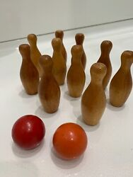 Vintage Wooden 4andrdquo Ten Pin Bowling Set Game 10 Pins With 2 Balls