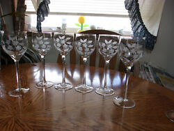Etched Wine Floral Blown Smooth Stem - Set Of 6 Glasses