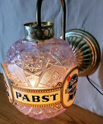 Vintage Rare Pbr Pabst Blue Ribbon Spinning Faux Crystal Wall Sconce Light Works
