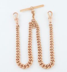 Antique 9ct Rose Gold Graduated Double Albert Watch Chain 15 3/8and039and039