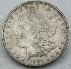 1891-cc Us Morgan Silver Dollar 1 About Uncirculated Au Good Luster In Hand