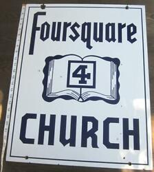 Foursquare Church Porcelain Advertising Hanging Sign Dbl Sided Antique Bible Usa