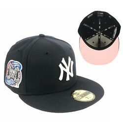 Yankees Navy Blue Subway Series Side Patch New Era Fitted Hat Cap Pink UV