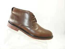 Gbx Size 9 D Brown Leather Lace Up Plain Toe Casual Ankle Boots Dress Mens Shoes