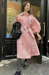 Simone Rocha X Handm Tinsel Detail Tweed Coat Light Pink Size Xs Sold Out