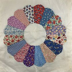 10 Vintage Quilt Blocks Dresden Plate Hand Pieced 13x13 Great Old Fabric