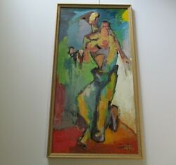 Leon Saulter 48 Abstract Painting Modernist Nude Large Expressionism Portrait