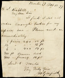 James A. Garfield - Autograph Letter Signed 10/10/1877