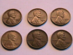 1913-1930 Lot Of 6 Early Lincoln Wheat Cents Nice Original F -au Bronze Us Coins