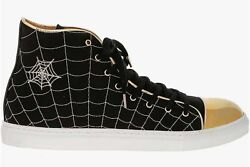 Charlotte Olympia Womenand039s Black Gold Web High Tops Sneakers N3949 Size 10