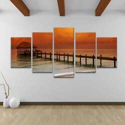 Belize Stormand039 5-piece Wrapped Canvas Wall Art Set White Overall 60 W X 30 H