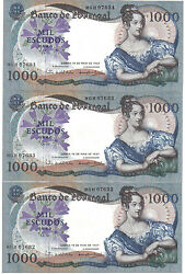 Portugal 3 X 1000 Escudos 1967 Consecutive Numbers Pick 172 Unc