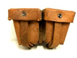1904 Mosin Nagant Pouch 2 Pouches Brown Leather Ammo Pouches Russian Stored Mint