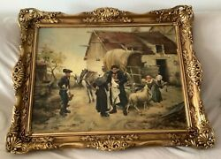 Antique Village Scene Oil On Canvas Painting 22andrdquo By 31andrdquo Signed And Framed