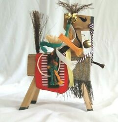 Vintage Traditional Japanese Miharu-goma Lucky Charms Shrine Toy Horse 6.5andrdquo
