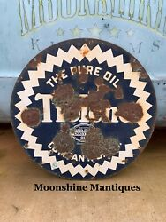 Original 1930andrsquos Pure Tiolene Motor Oil Porcelain Sign - Gas And Oil