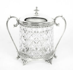 Antique Silver Plate And Cut Glass Biscuit Box Sheffield 19th Century