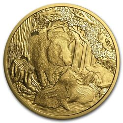 2014 Austria Gold €100 Wildlife In Our Sights Wild Boar Proof .5144 Oz. With Ogp