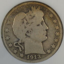 1913-s Barber Quarter 25c Anacs Certified Vg8 Old Small Holder Solid Coin