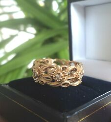 Welsh 14ct Rose Gold And Seven Diamond Daffodil Ring By Stuart Devlin - Size R
