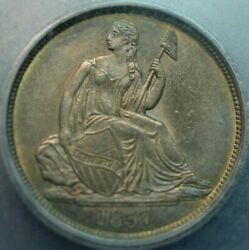1837 No Stars , Lg Date Seated Liberty Dime Icg Ms60 Details Album Toning