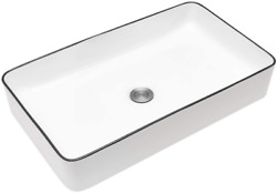 Rectangle Bathroom Vessel Sink 24 Inch - Beslend 24''x14'' Above Counter White P
