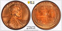 1955-d 1c Rd Lincoln Wheat One Cent Pcgs Ms67rd      40168026