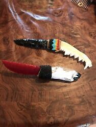 Lot Of 2 Obsidian Glass Knives. Red Glass And Black