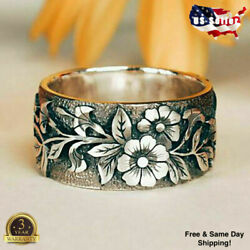 Pretty Flower 925 Silver Rings for Women Jewelry Party Rings Size 5 10 $3.94
