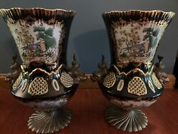 Large Pair Antique Bronze Mounted Japanese Vases Cobalt Blue Gold Reticulated