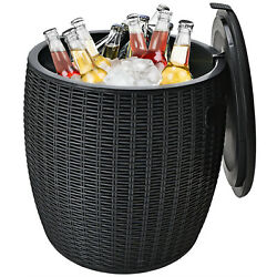 Patiojoy 9.5 Gallon 4-in-1 Patio Rattan Cool Bar Side Table Cocktail Table Black