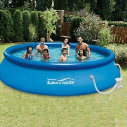 Brand New Summer Waves 13and039 X 33 Quick Set Ring Above Ground Swimming Pool Set