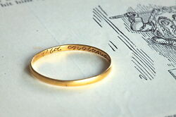 Genuine Antique English 22k Gold Wedding Posy Ring And039old England For Everand039 C1700s