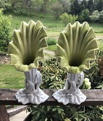 Pair Vtg 50s Mid-century Royal Haeger Hickman Chartreuse-gray Lily Flower Vases