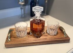 Teakwood Serving Tray Flight Whiskey Glass And Decanter Set New Handle Styles