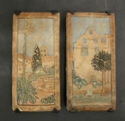Claycraft Vintage California Mission Tile Pair In Iron