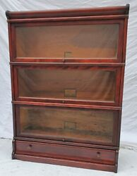 Globe Wernicke Mahogany Barrister Lawyer Bookcase 3 Tall With A Bottom Drawer