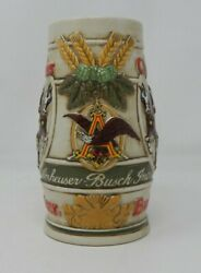 1981 Budweiser Holiday Clydesdale Beer Stein Mug Snow Covered Birch Trees Horses
