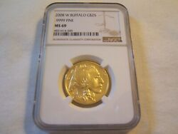 2008 W 25 Uncirculated.9999 Fine American Buffalo Gold Ngc Ms69