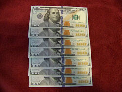 Uncirculated One Hundred Dollar Bills Series 2017a 100 Sequential - 7 Notes