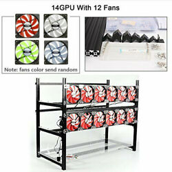 14 Gpu Miner Open Air Mining Frame Case Rig Aluminum Stackable Eth + 12 Led Fans