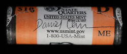 2003-d Maine State Quarter Us Mint Wrapped Bu Roll | Daniel Carr Signed