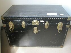 Flat Top Steamer Trunk Antique Vintage Treasure Chest 1930's With Insert