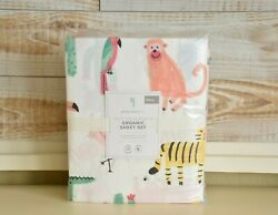 New Pottery Barn Kids Silly Palm Beach Full Sheet Set Animals Colorful Nwt
