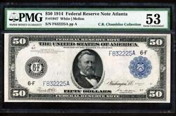 Fr.1047 1914 50 Atlanta Frn + Pmg 53 Choice About New Uncirculated Super Rare