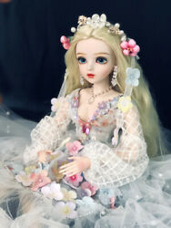 60cm Bjd Doll Girls Gift + Changeable Eyes + Wigs + Clothes Full Set Xmas Gifts