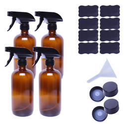 Empty Amber Glass Spray Bottles, Large 16 Oz Refillable Container Pack Of 4 For
